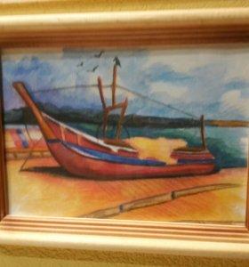 Картина лодка