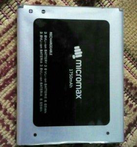 Продам аккумулятор от телефона micromax 1750mAh