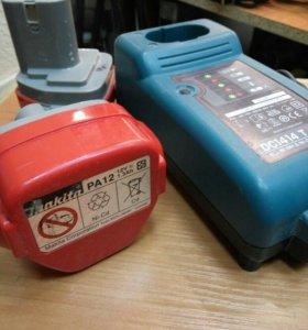 Зарядное устройство и 2 аккумулятора makita