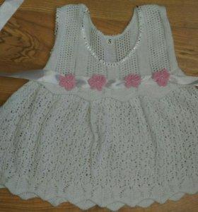 Новое вязанное платье р.74-80