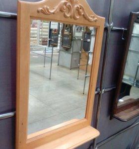 Зеркало с полкой в деревянной раме