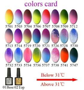 Гель лак 5741 Меняет цвет с изменением температуры