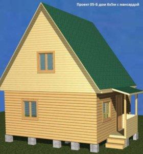 Дом из бруса, 5х6 с крыльцом