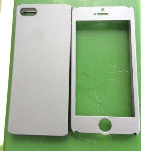 Чехол для iPhone +защитное стекло и 2 салфетки.