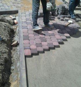 Укладка тротуарной плитка брусчатка Бардур,асфальт