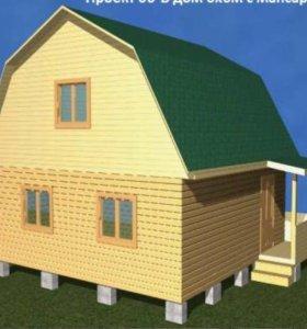 Дом из бруса с крыльцом, 6х6 с крыльцом