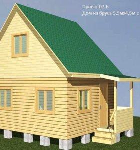 Дом из бруса, 5х4,5 с крыльцом
