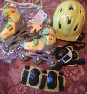 Продам новые роликовые коньки и комплект защиты