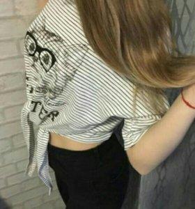 Топ футболка полосатая с котиком с бантом