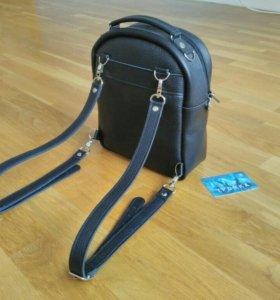 Рюкзак кожаный маленький чёрный ручной работы