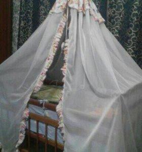 Кроватка детская маятник +Балдахин +матрас