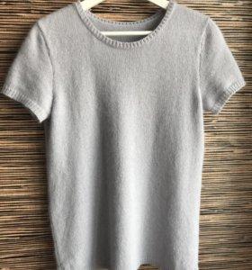 Вязаный пуловер с коротким рукавом из ангоры
