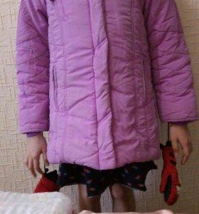 Пуховик детский с натуральным мехом для девочки