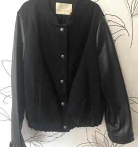 Куртка на девочку с кожаными рукавами