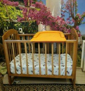 Кроватка -качалка детская с матрасом