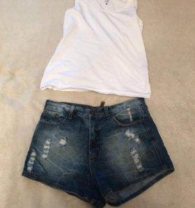 Высокие джинсовые шорты