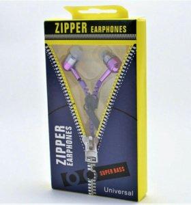 """Наушники с микрофоном """"ZIPPER"""" (фиолетовые, молния"""