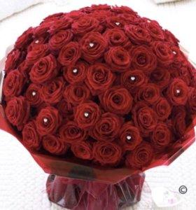 55 красных роз 60 см Голландия 🎁❤️