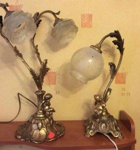 Старинные настольные лампы с путти. Франция