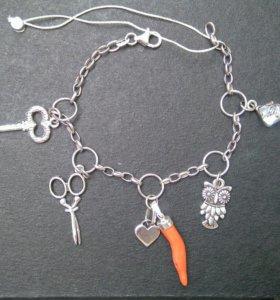 Браслет с шармами серебро 925