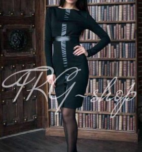 Платье кожаные вставки. Неношеное