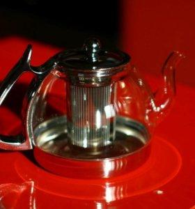 Стеклянный чайник из жаропрочного стекла объём 1л