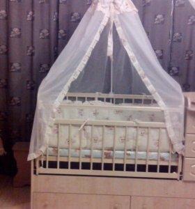 Продам детскую кроватку трансформер б/у