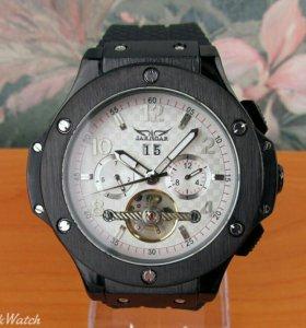 Мужские механические часы Jaragar, белые с чёрным
