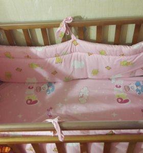 Кроватка детская+матрас+бортики