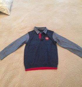 Кардиган-рубашка. 2 в 1. Новый. Рост 104-110.