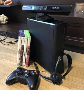 Xbox 360 slim+(Kinect, гарнитура, игры)