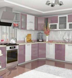 Кухня новая модуль сирень/белый 2.75м