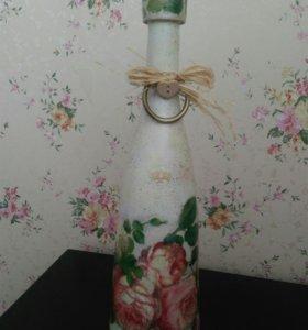 Бутылка декоративная. Декупаж.