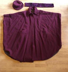 Пальто, шляпка, воротник демисезонное р.50+