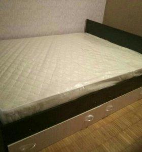 Кровать новая с ящиками и матрасом