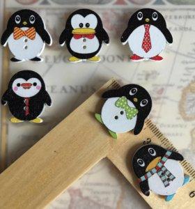 Пуговицы деревянные 6шт пингвин 🐧
