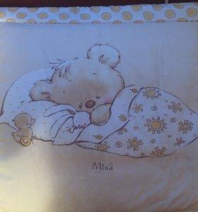 Бортики,балдахин, одеяло, подушка, простынь