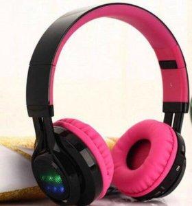 Новые наушники Kiba Bluetooth Led AB-005 розовые