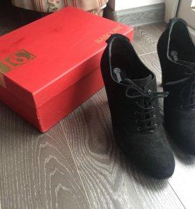 Туфли кожаные замша замшевые ботильоны