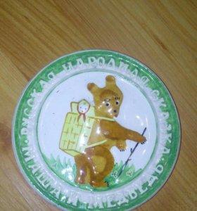 Тарелка винтаж декор маша и медведь