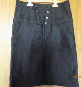 Юбка джинсовая карандаш с высокой талией M