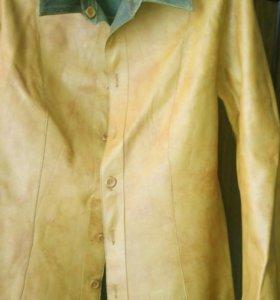 Кожаная новая куртка-пиджак(двухстороняя).