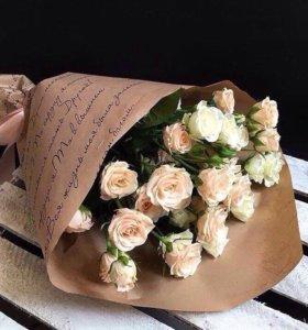 Букет кулек цветы розы