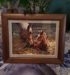 """Картина вышитая """"лошади"""""""