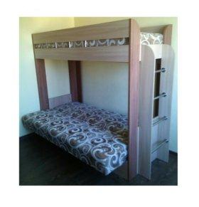 Кровать двухьярусная с диваном и матрасом