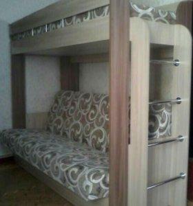 Кровать двухьярусная с диваном и матрасом новая