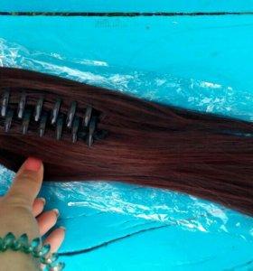 Накладные волосы (золотистой кофе)