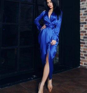 Платье вечернее в пол синее длинное