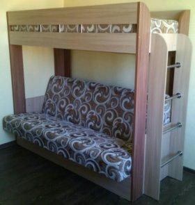 Кровать двухьярусная с диваном и матрасом, новая