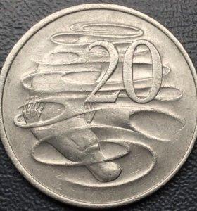 """Крупная монета Австралии, 20 центов 1980 """"Утконос"""""""